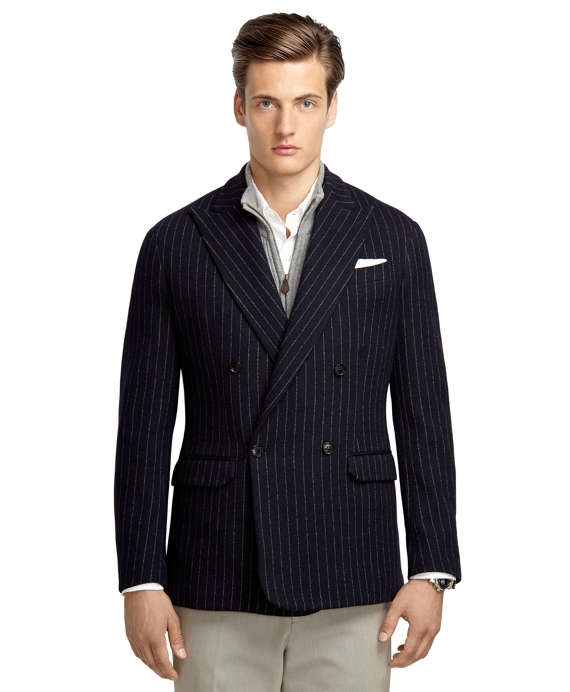 Navy Stripe Double-Breasted Knit Blazer Navy