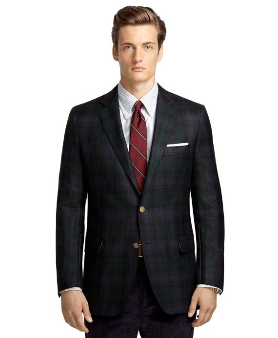 Own Make Blackwatch Plaid 102 Sport Coat Navy-Green