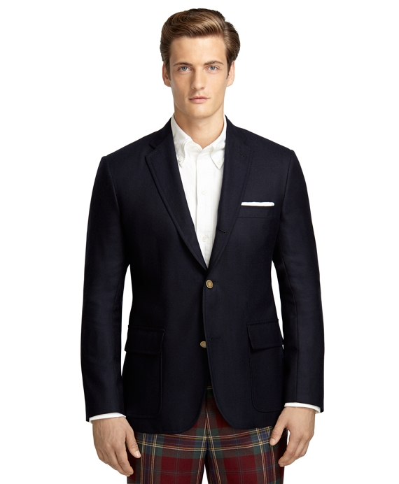 Own Make Solid Cashmere 101 Hopsack Sport Coat Navy