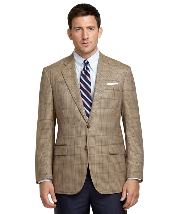Madison Fit Brown Check with Red Deco Sport Coat Tan