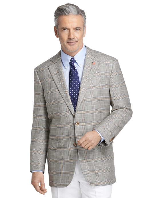 Madison Fit Saxxon™ Tan Plaid with Blue Rust Deco Sport Coat Tan