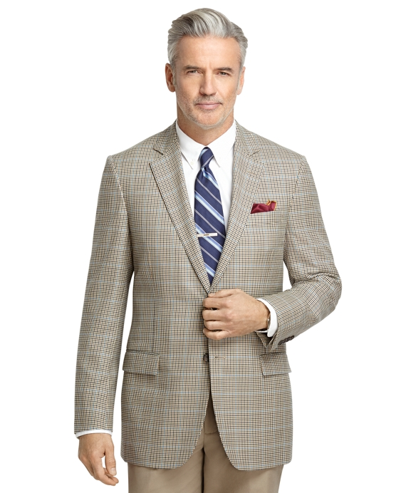 Fitzgerald Fit Tan Check with Blue Windowpane Sport Coat Tan