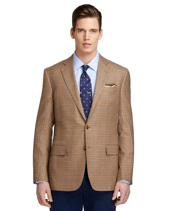 Regent Fit Plaid with Soft Blue Deco Sport Coat Tan