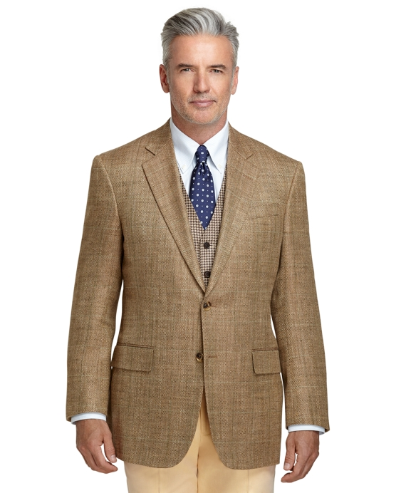 Madison Fit Broken Herringbone with Green Deco Sport Coat Tan