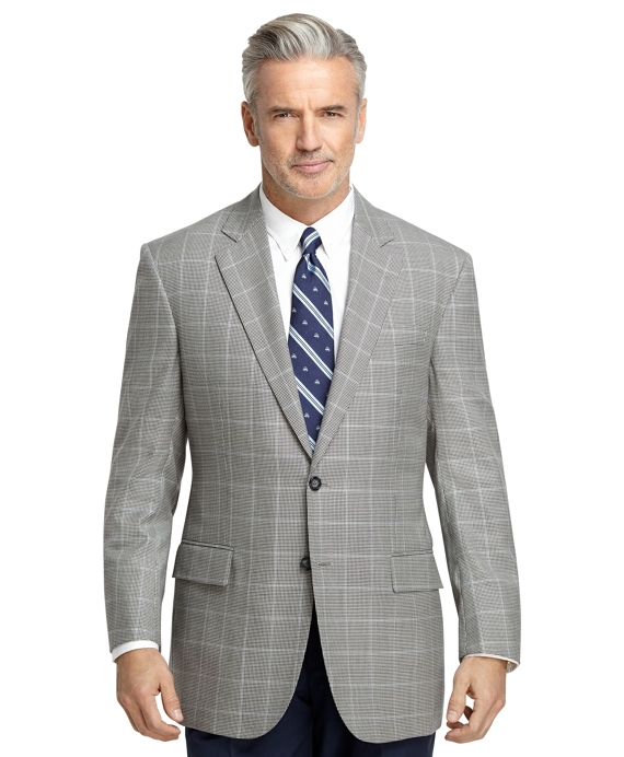 Madison Fit Black and White Check with Blue Deco Sport Coat Black-White