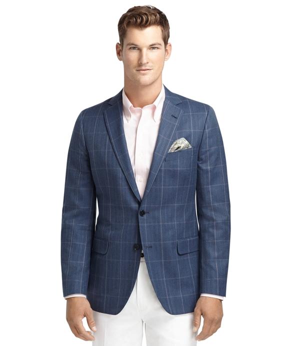 Fitzgerald Fit Blue with Rust Windowpane Sport Coat Blue