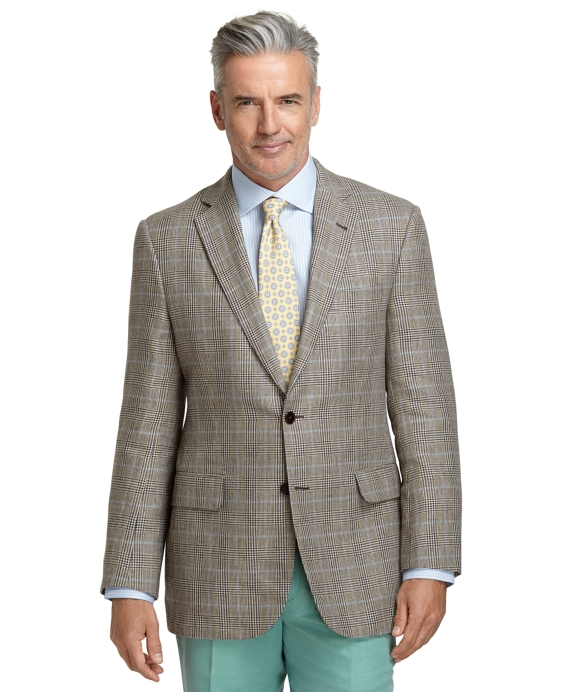 Madison Fit Tan Plaid with Blue Deco Sport Coat Tan