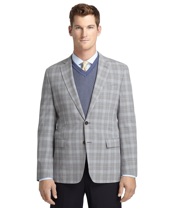 Fitzgerald Fit Grey Plaid with Blue Deco Sport Coat Grey