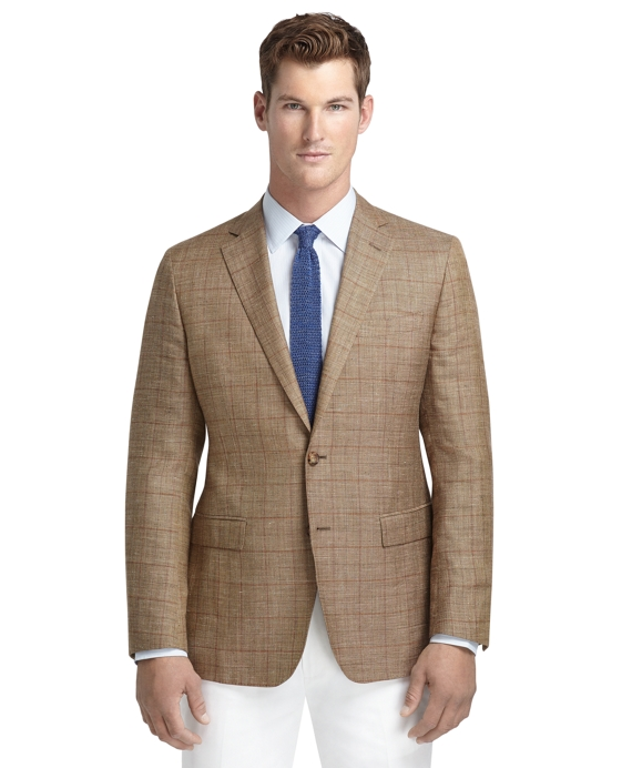 Men's Fitzgerald Fit Tan Plaid with Rust Windowpane Sport Coat