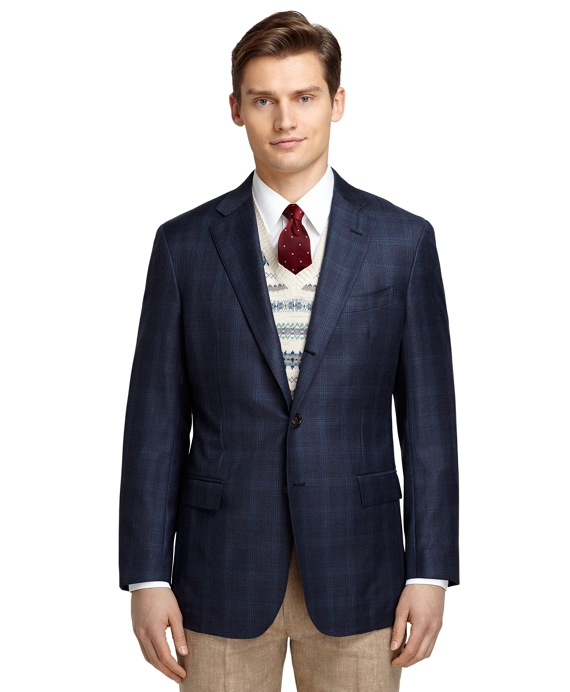Regent Fit Navy Plaid with Teal Windowpane Sport Coat Navy