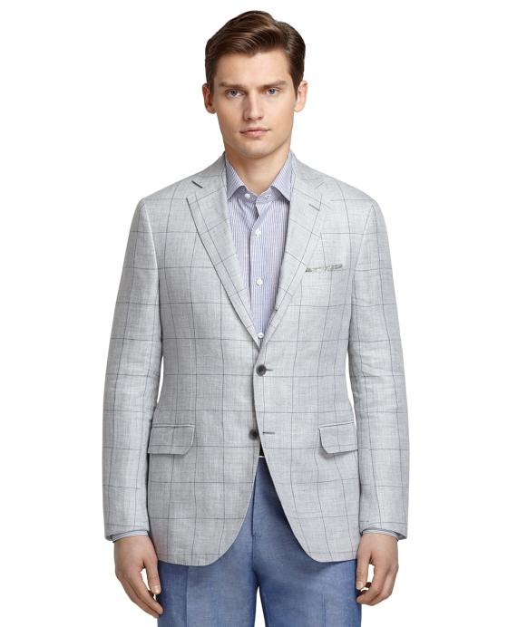Men's Grey Windowpane Sport Coat