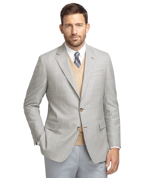 Regent Fit Tan and Olive with Blue Check Sport Coat Tan-Olive-Blue