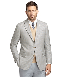 Regent Fit Tan and Olive with Blue Check Sport Coat