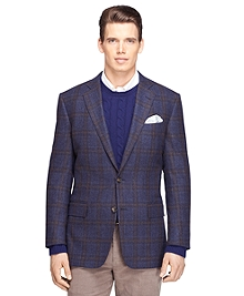 Regent Fit Blue Plaid with Rust Deco Sport Coat
