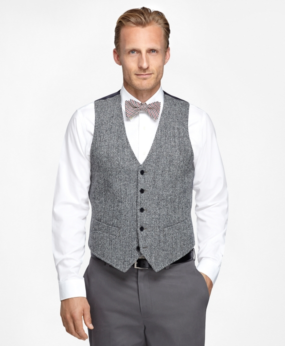Harris Tweed Wool Vest Black-White