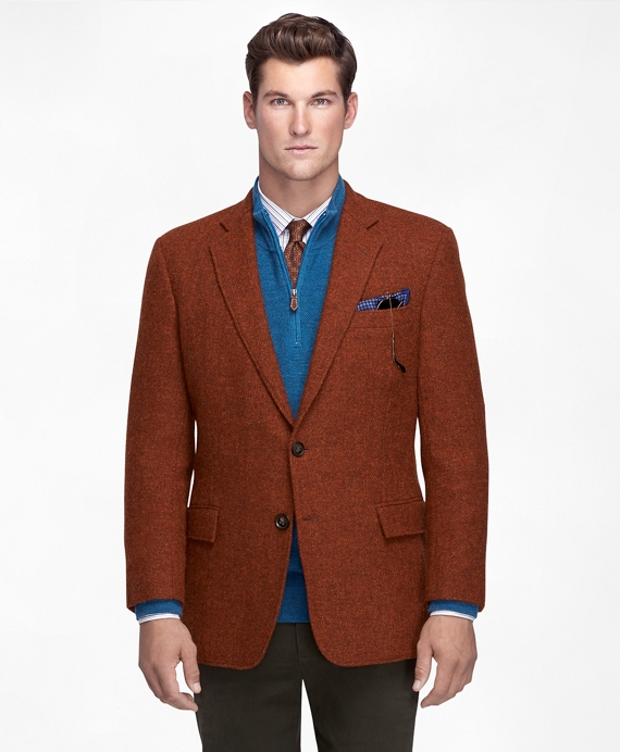 Men's Slim Fit Rust-Colored Harris Tweed Sport Coat | Brooks Brothers