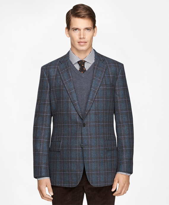 Men's Slim Fit Blue Plaid Sport Coat | Brooks Brothers
