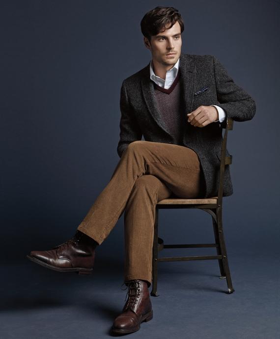 Men's Fitzgerald Fit Harris Tweed Charcoal Sport Coat   Brooks ...