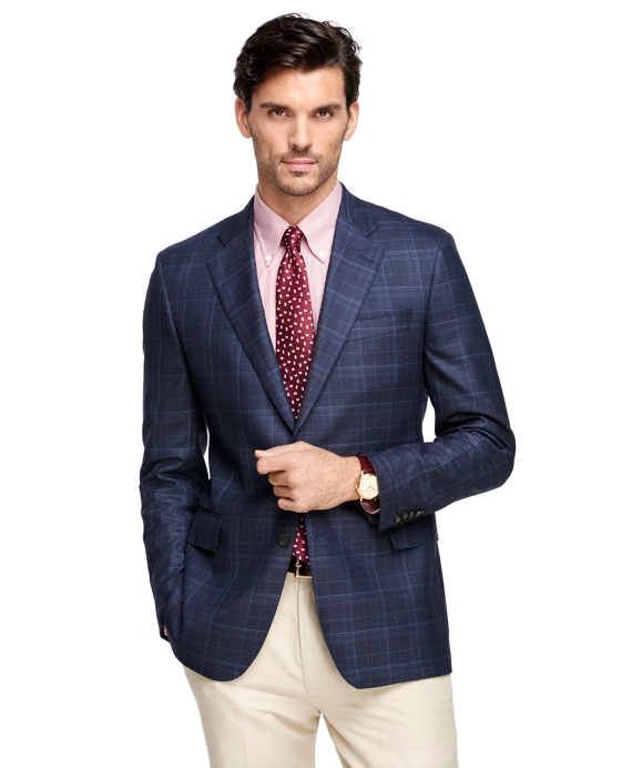 Men's Slim Fit SaxXon Wool Windowpane Sport Coat