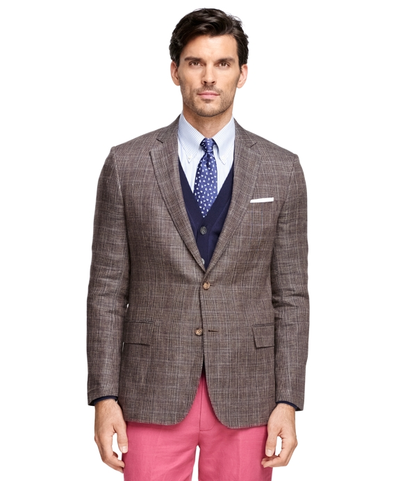 Regent Fit Plaid with Windowpane Sport Coat Brown