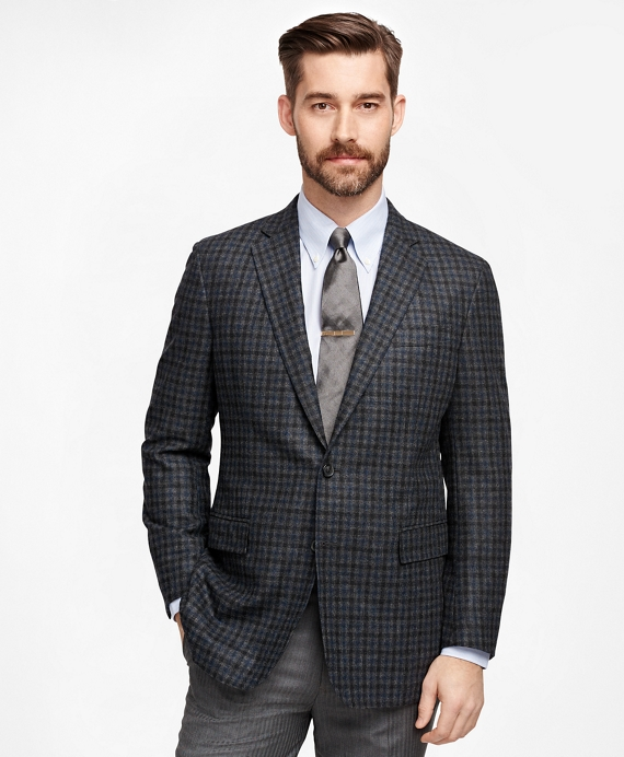 Regent Fit Large Check Sport Coat Charcoal