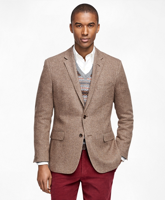 Milano Fit Herringbone Sport Coat Brown