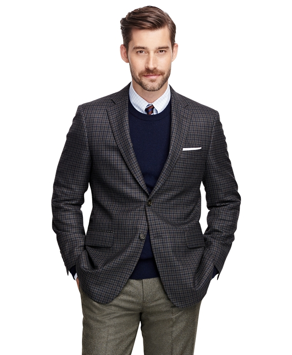 Madison Fit Saxxon™ Wool Check Sport Coat Charcoal