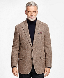 Madison Fit Harris Tweed Brown Herringbone Sport Coat