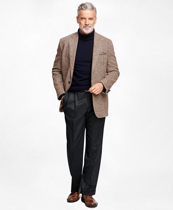 Men's Regular Fit Harris Tweed Brown Herringbone Sport Coat ...