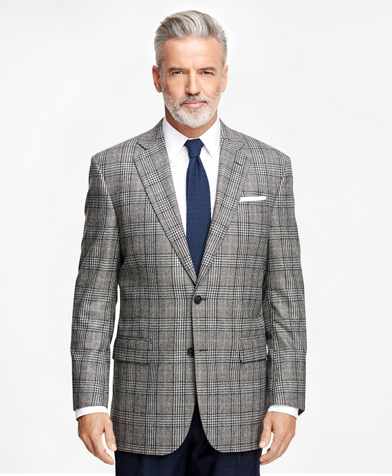 Men's Regular Fit Saxxon Wool Grey Plaid Sport Coat | Brooks Brothers