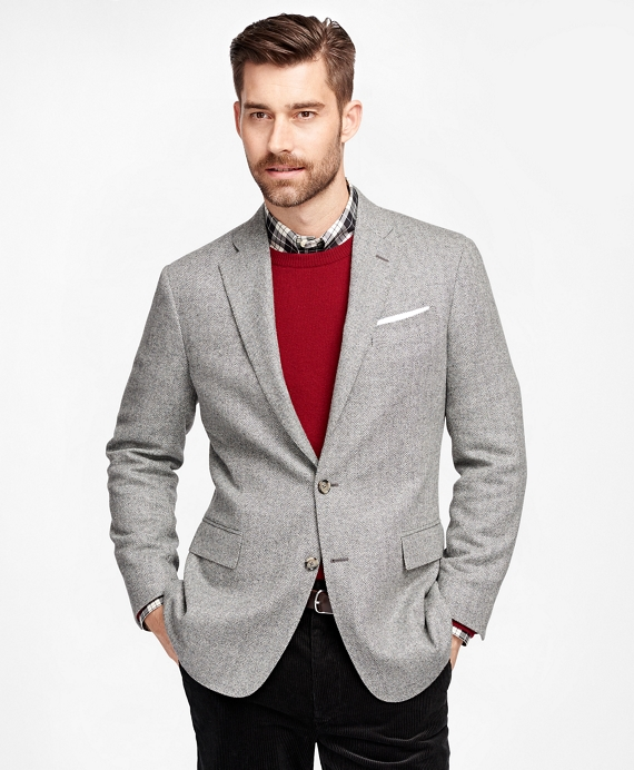 Men's Slim Fit Light Grey Herringbone Sport Coat | Brooks Brothers