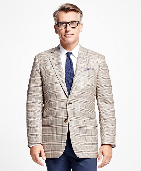 Madison Fit Saxxon Wool Plaid with Deco Sport Coat Brown
