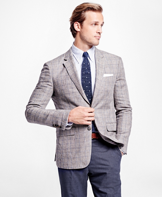 Milano Fit Plaid with Deco Linen Sport Coat - Brooks Brothers