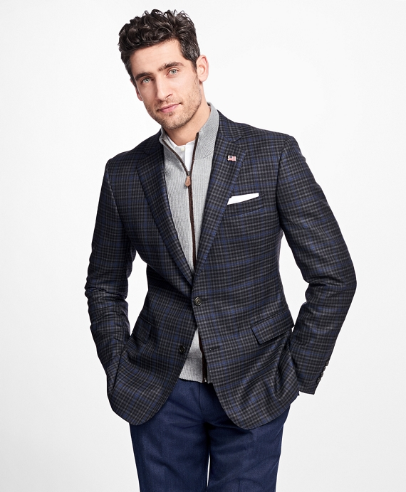 Regent Fit Saxxon™ Wool Check with Windowpane Sport Coat Charcoal