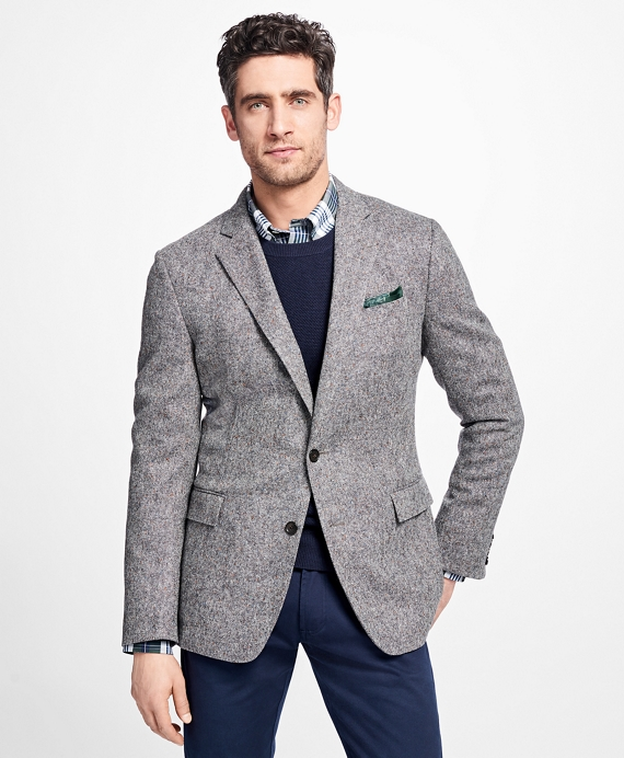 Regent Fit Black and White Donegal Sport Coat - Brooks Brothers