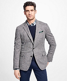 Regent Fit Black and White Donegal Sport Coat