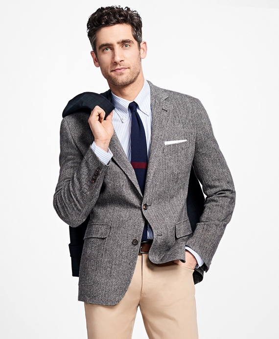Regent Fit Herringbone Sport Coat Black-White