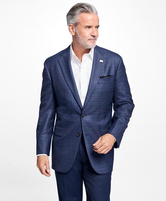 Madison Fit Saxxon Wool Plaid with Multi-Deco Sport Coat Blue