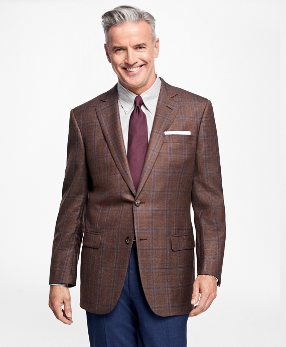 Madison Fit Saxxon™ Wool Plaid with Deco Sport Coat Brown