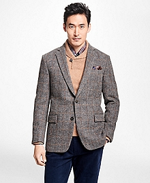 Regent Fit Harris Tweed Herringbone with Multi-Windowpane Sport Coat