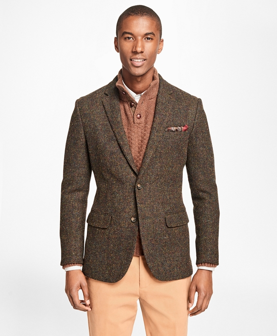 Milano Fit Harris Tweed Sport Coat Olive