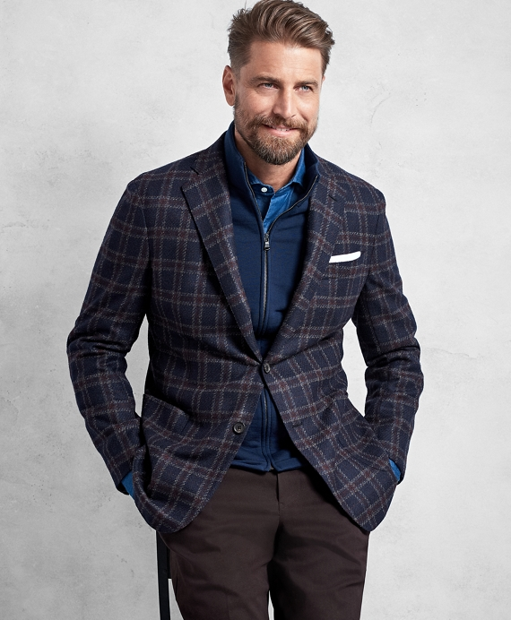 Golden Fleece® Navy and Red Overplaid Sport Coat Navy