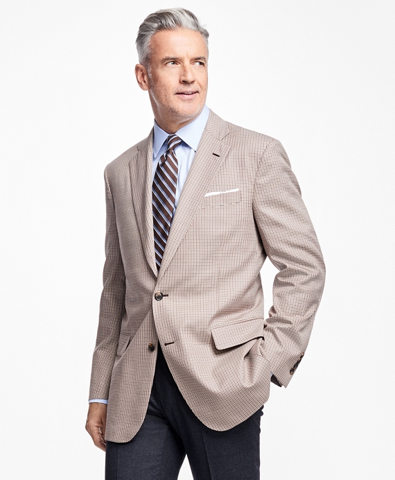 Madison Fit Tan and Brown Mini Check Sportcoat Tan