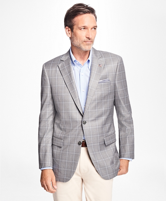 Madison Fit Saxxon Wool Overcheck Sport Coat Grey