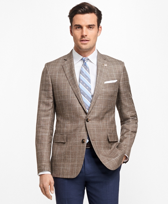 Regent Fit Saxxon™ Wool Plaid with Windowpane Sport Coat Brown