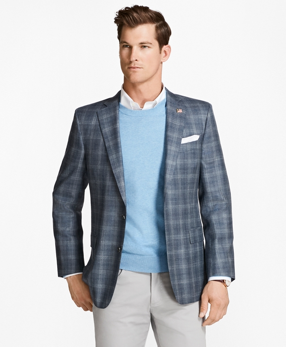 Regent Fit Saxxon™ Wool Triple-Check Sport Coat Blue