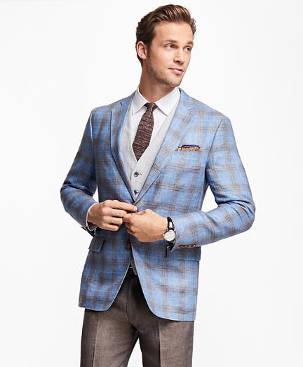 Regent Fit Plaid Linen Sport Coat