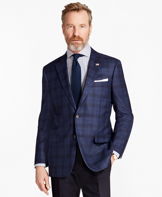 Madison Fit Saxxon™ Wool Plaid Sport Coat Navy