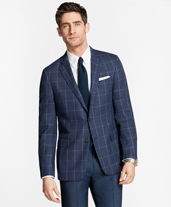 Regent Fit Hopsack Windowpane Sport Coat Navy