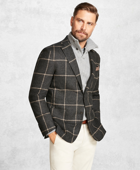 Golden Fleece® Charcoal with Camel Windowpane Sport Coat Charcoal-Camel